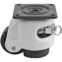"""FOOTMASTER GDR-60F Nylon Wheel and NBR Pad Ratcheting Leveling Caster, 550 lbs, Top Plate 2 7/8"""" x 2 7/8"""", Bolt Holes 2 9/32"""" x 2 9/32"""", Ivory"""