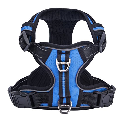 PUPTECK Best No-Pull Dog Harness with Vertical Handle,Calming Adjustable Reflective Outdoor Adventure Pet Vest,Blue ()