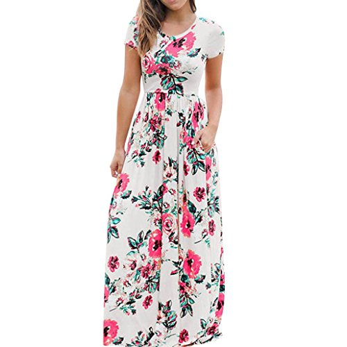 Crossover Dress Bodice (HODOD Women Juniors Floral Wrap Bodice Crossover Round Neck Bohemian Dresses Plus Size)