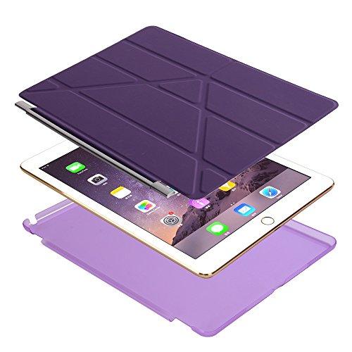 iPad Air 2 Case, Dowswin Multi Folded Protective PU Leather Front Case with Sleep Wake Up Function and Transparent Hard Back Cover for Apple 6th Gen (Purple) Photo #9