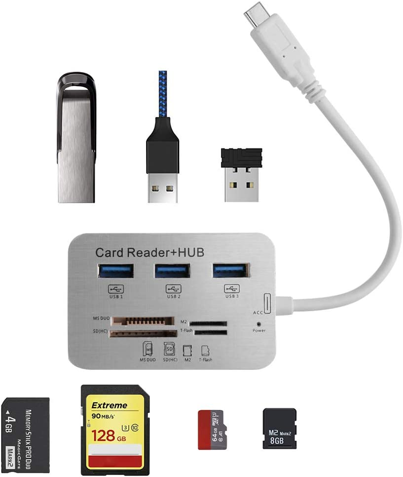 SUM 7-In-1 USB C Hub Adapter Memory Reader Holder Hunderbolt 3 USB-C pass-through SD/Micro Card for MacBook Pro 2018/ 2017 /2016 MacBook Air Nintendo Switch and Other Type C Computer and Cellphone