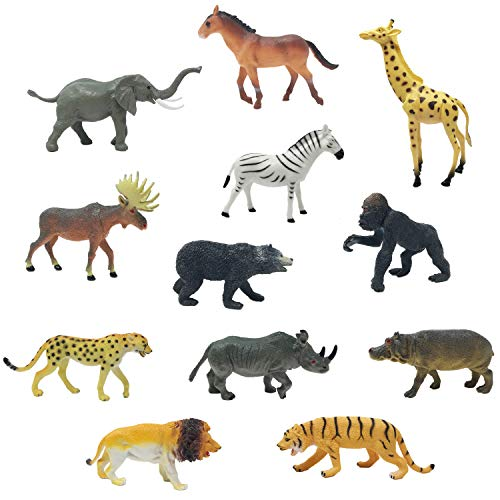 (Boley 12 Piece Jumbo Safari Animal Set - Educational Zoo Animals And Jungle Animals For Kids, Children, Toddlers - Includes Elephant, Horse, Giraffe, Moose, Zebra, Bear, Gorilla, Tiger, Rhino,)