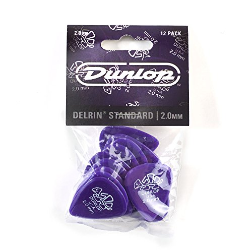 Dunlop 41P2.0 Delrin, Purple, 2.0mm, 12/Player's - Guitar Pick Purple