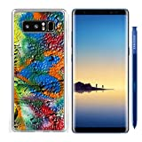 Luxlady Samsung Galaxy Note8 Clear case Soft TPU Rubber Silicone IMAGE ID: 23193338 mottled spray painted with dripping texture and orange heart