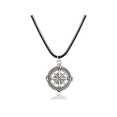 d2dbb7219f93 Collar de hombre - Hombres De Brújula Collar - Collar de plata para ...