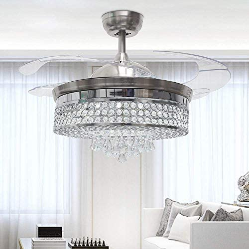 RS Lighting 42 inch Retractable Blades Crystal Ceiling Fan and Light-Modern Style-Decorations for Bedroom Living Room Led Light Ceiling Fan with Chandelier and Remote Control Silver-01