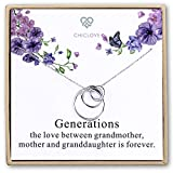 Chiclove Sterling Silver 3 Circles Necklace - Generation Necklace - Grandmother Mother Daughter Necklaces - Family Necklace - Grandma Gift - Mother Daughter Necklace