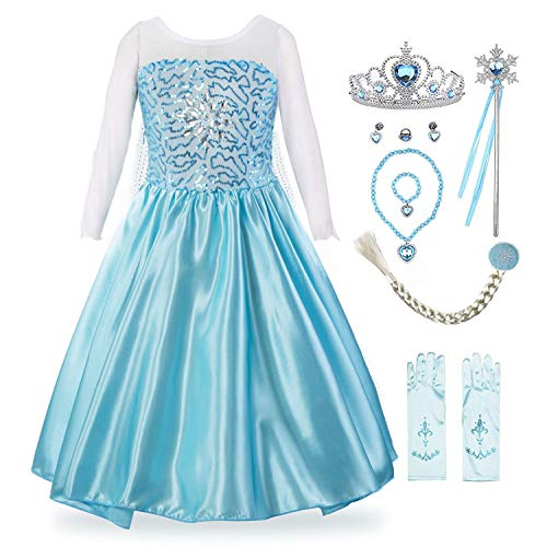 Padete Little Girls Anna Princess Dress Elsa Snow Party Queen Halloween Costume (4 Years, Light Blue with Accessories) ()