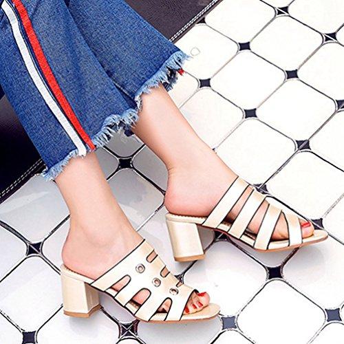 Plate Compensées Mode Toe Forme Gladiateur Or Sandales Open Sandales Femmes Robe Bloc Talon Paillettes Diapositives nA8gEqSqxw