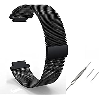 Feicuan 16mm Magnetic Loop clasp Stainless Steel Watchband Replace Part Wrist Bracelets Strap for Huawei TalkBand B3 (Size L,Black)