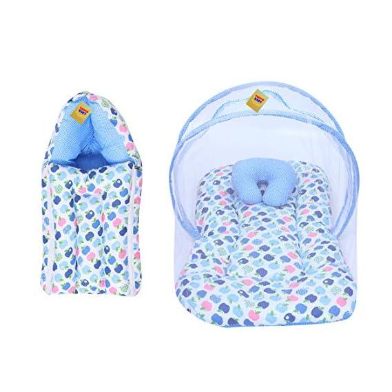 Fareto Born Baby Apple Print Mattress with Net & Sleeping Bag(Blue)(0-6 Months)