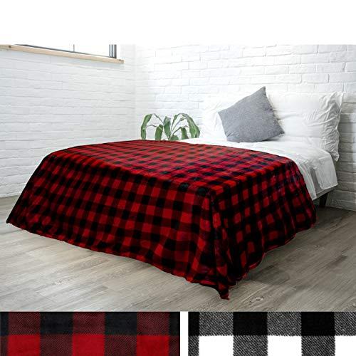 PAVILIA Flannel Fleece Throw Blanket for Sofa Couch Bed | Super Soft Velvet Plaid Pattern Checkered Decorative Throw | Warm Cozy Lightweight Microfiber | 60 x 80 Inches Plaid - Plaid Black Fleece