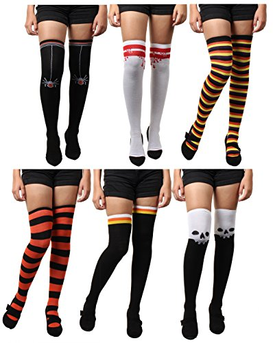 Halloween Women's Sexy Over Knee-High Socks Thigh Hi Stockings 6 Pairs -