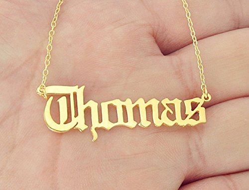 Custom Platinum Chains - Fashion Personalized Custom Old English Name Pendant Alphabet Letter Charm Stainless Steel Chain Necklaces Kid Birthday Gift