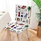 Mikihome 2 Piece Set Chair Cushion Nostalgic Female Objects Solar Hot Travel Adventure Perfect Indoor/Outdoor Mat:W17 x H17/Backrest:W17 x H36