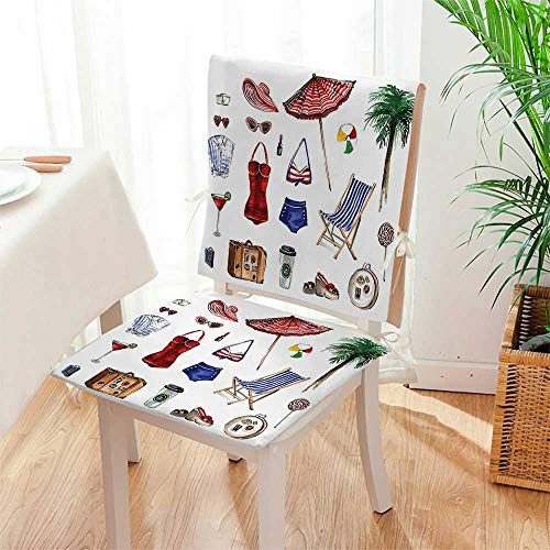 Mikihome 2 Piece Set Chair Cushion Nostalgic Female Objects Solar Hot Travel Adventure Perfect Indoor/Outdoor Mat:W17 x H17/Backrest:W17 x H36 by Mikihome