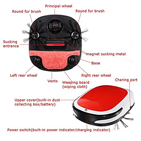 Amazon.com - Vacuum Cleaners - Smart Robotic Vacuum Cleaner Cordless Floor Dust Auto Sweeping Machine Dry Wet Tank Brushless Aspirador for Home - by HiMom ...