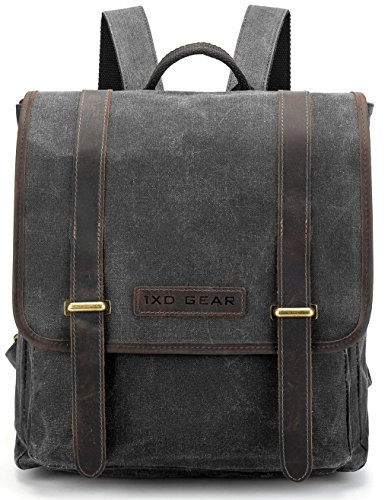 Waxed Canvas and Leather Vintage Backpack College Schlool Casual Unisex Daypack Tablet Bag Fits laptop up to 13 inch By 1XD GEAR (Urban Canvas Backpack Laptop)
