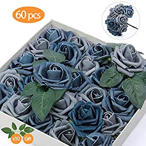 TOPHOUSE 60pcs Artificial Flowers Roses Real Touch Fake Roses for DIY Wedding Bouquets Bridal Shower Party Home Decorations (Dusty Blue Shades) 105