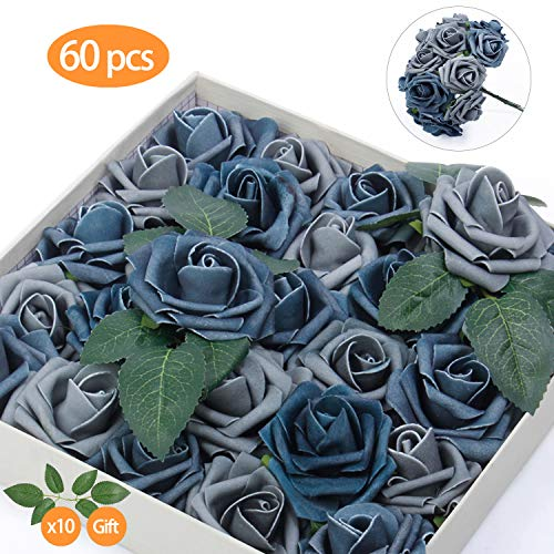 - TOPHOUSE 60pcs Artificial Flowers Roses Real Touch Fake Roses for DIY Wedding Bouquets Bridal Shower Party Home Decorations (Dusty Blue Shades)