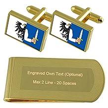 Connacht Flag Gold-tone Cufflinks Money Clip Engraved Gift Set