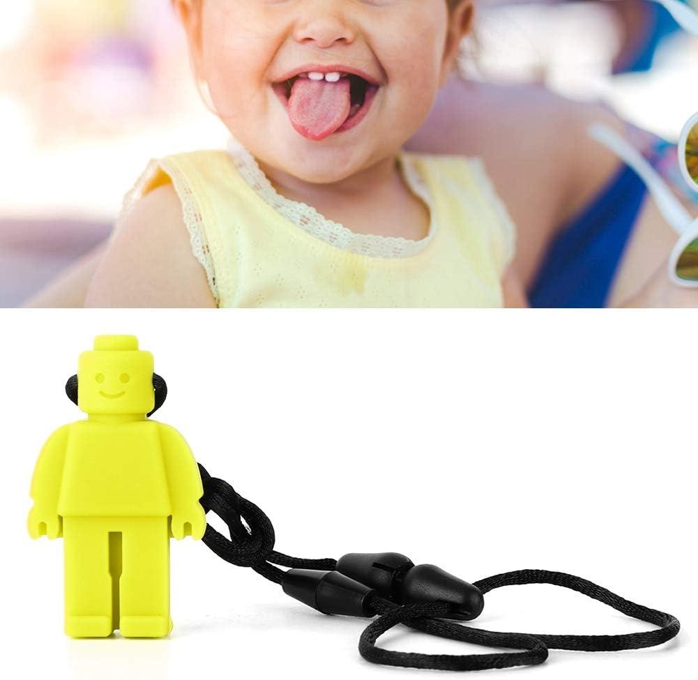 Jaune Collier de dentition 5 couleurs Silicone Baby Robot Collier de dentition pour tout-petit collier de soins infirmiers Oral Sensory Chew Jouets con/çus pour Autisme TDAH moteur oral
