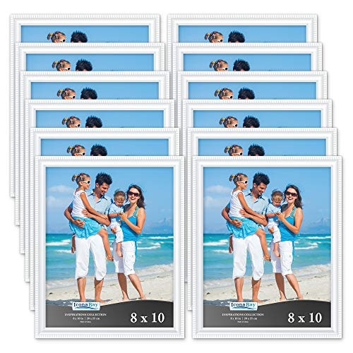 Icona Bay 8x10 Picture Frames (12 Pack, White) Picture Frame Set, Wall Mount or Table Top, Set of 12 Inspirations Collection ()