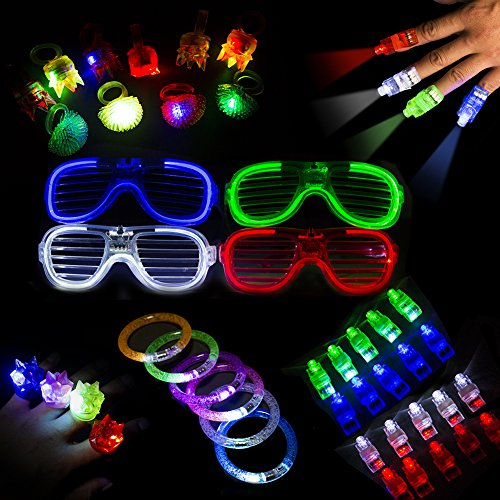 Glow LED Colorful Party Toy 40 Pieces Pack Including 20 Finger Lights 4 LED Cool Sunglasses 10 Jelly LED Finger Rings and 6 LED Barcelets Great Flashing for Parties Kid's - Light Sunglasses