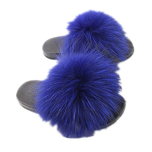 Fur Real Open Raccon Slippers Toe Black qmfur Women's Blue royal Slide RwXqfn7