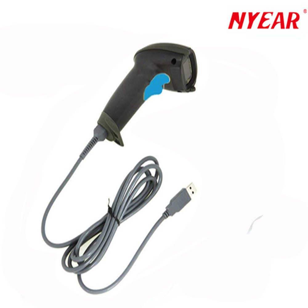 NYEAR Handheld Wired USB Barcode Scanner, 1D Handheld Inventory Laser Bar Code Reader Automatic Continuous Scan Computer Windows Wired USB Cable APP Support