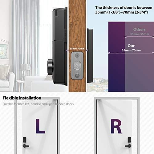 PopuLife Smart Lock Door, Keyless Smart Lock App Enable Pin Code Unlocking, Bluetooth Deadbolt, Auto-Lock Feature, Only Compatible with Wooden Door, Left Door, Right Door by PopuLife (Image #4)