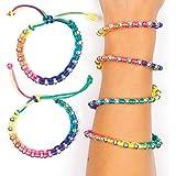 Baker Ross Neon Rainbow Bead Bracelets (Pack Of 4) For Kids Party Bag