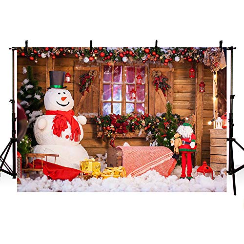 MEHOFOTO 8x6ft Splendid Merry Christmas Party Banner Holiday Winter Photo Studio Backdrop Snow Man Christmas Bells Wood Backgrounds for ()