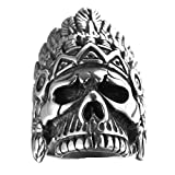 deer skull ring - Bishilin Jewelry Men's Rings Stainless Steel Indian Skull Head Punk Ring Silver Size 9