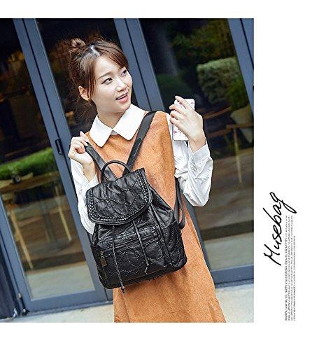 WTUS Mujer nueva Señora de mochila y la moda de los bolsos de personalidad negro
