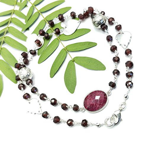 Silver Faceted Garnet Necklace (Silver Plated Necklace Of 18 inch Garnet With Ruby 5-13x15 mm Rondelle faceted Beads With Multi Shape Charms Included Like Pics.)