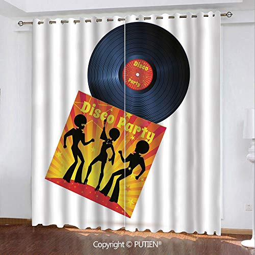 (Satin Grommet Window Curtains Drapes [ 70s Party,Vinyl Record Cover with Disco Party Illustration Dancers Music Art Print,Orange Yellow White ] Window Curtain for Living Room Bedroom Dorm Room Classro)
