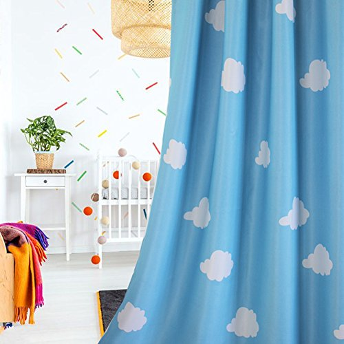MYRU 1 Pair Blue and White Cloud Semi Blackout Curtains for Childrens Living Room Bedroom (39