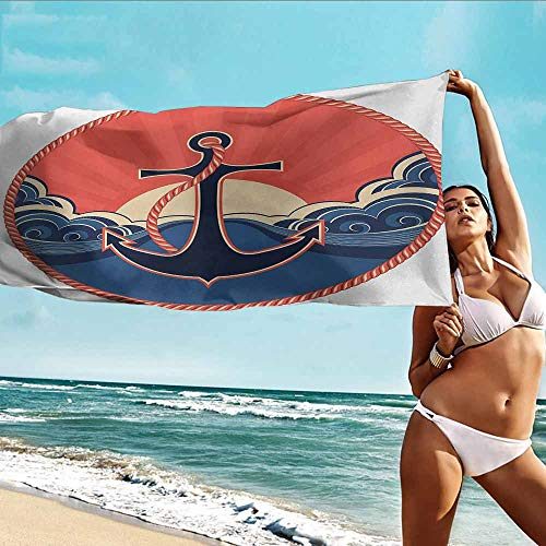 (HOMEDD Bath Towel,Anchor Navy Label with Robe and Sea Waves at Sunset Anchor Retro Aquatic Life Icons,Home Hotel Office Washcloths,W40x20L Red Blue Yellow)