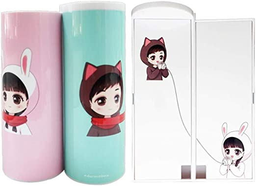 Estuche creativo para lápices con calculadora solar y espejo de dibujo animado para niños y niñas de la marca IMyoung, color Rabbit Scarf: Amazon.es: Oficina y papelería