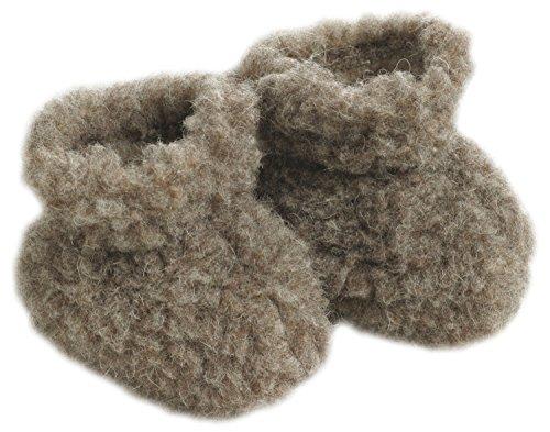 Chaussures bébé poils en feutrine marron clair Saling produits naturels