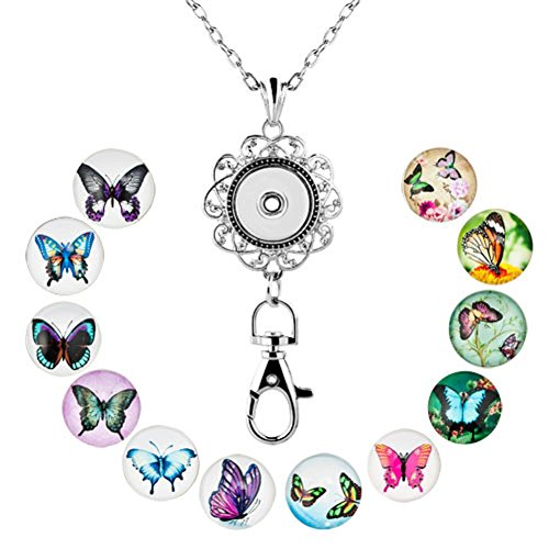 Butterflies Snap - Q&Locket Fashion Lanyard Office Womens ID Badge Holder Locket Necklace With 12pcs Snap Button Charm (12 Butterfly Snap Charms)