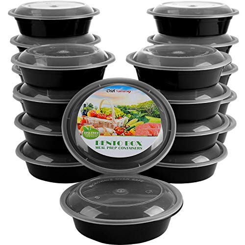 Round Meal Prep Containers [20 pack] with Lids, BPA-Free 21 Day Fix Bento Box, Reusable Portion Control Storage Box, Stackable Plastic Containers, Microwave|Freezer|Dishwasher Safe [ 24 oz]