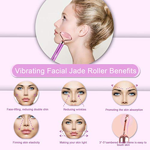 Upgrade 2 in 1 Electric Jade Facial Massager Roller, Vibrating Rose Quartz Eye Face Roller for Anti-aging Reducing Wrinkles Slimming and Firming Skin