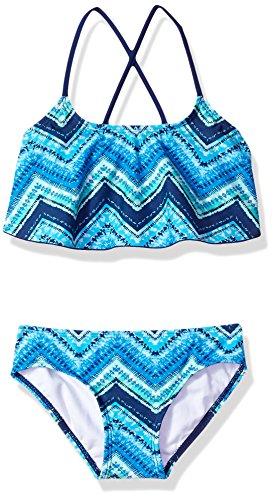 Kanu Surf Big Girls' Karlie Flounce Bikini Beach Sport 2-Piece Swimsuit, Kirsten Blue Chevron, 10