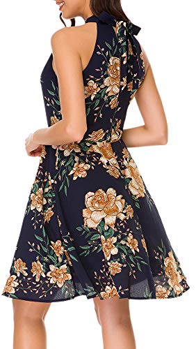 (TOP-MAX Women's Dresses- Summer Floral Print Halter Sleeveless A-line Homecoming Graduation Party Swing Floral Skater Dress)