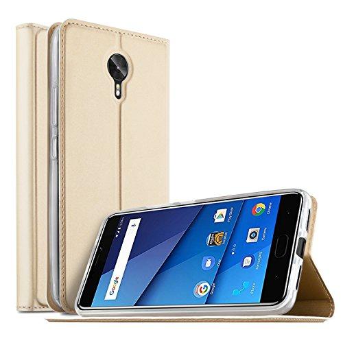 BLU VIVO 8 case, KuGi BLU VIVO 8 case, Ultra-Thin BW Style PU Cover + TPU Back Stand Case for BLU VIVO 8 Smartphone(Gold)