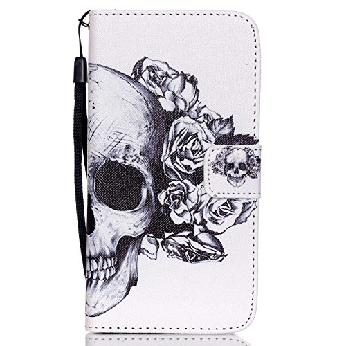 Price comparison product image Urberry S6 Edge Wallet Case, Skull and Flower Print Case for Samsung Galaxy S6 Edge, Shock-proof Case with a Free Screen Protector