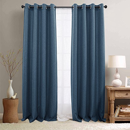 e Blackout Curtains Panels for Bedroom Room Darkening Drapes for Living Room, (2 Panels, 84-Inch, Denim Blue) (Solid Black Denim Drapes)
