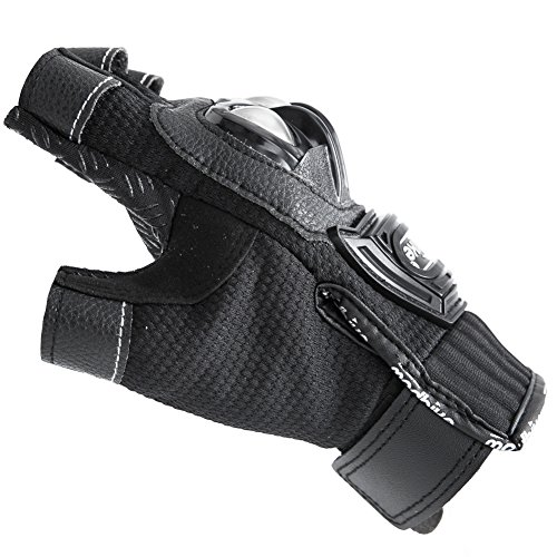 Motorcycle Fingerless Gloves,Dirt Bike Motocross Motorbike Power Sports Racing Gloves Steel Reinforced Knuckle (Black,XXL) by JYH (Image #5)
